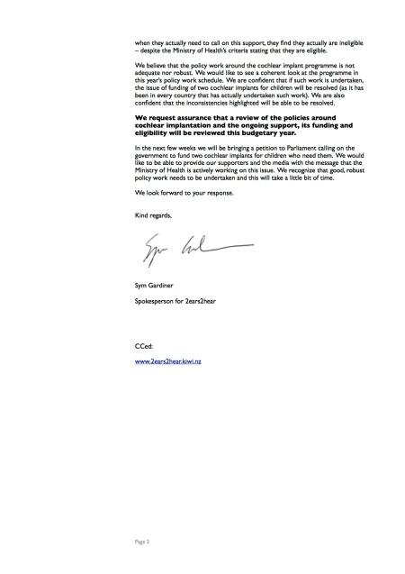 Letter to the Minister - September 2